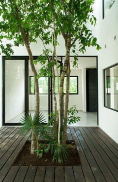 An interior courtyard adds light, privacy and a sense of nature indoors. (photo b)