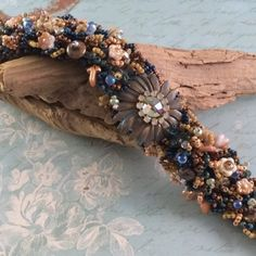 Raspberry Fields Design | Wearable Art Jewelry NEW lush bead woven bracelet in midnight blue, fern green, and copper/blush.  http://raspberryfieldsdesign.indiemade.com/product/luscious-mum  SOLD