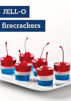 JELL-O Firecrackers – These patriotic treats are sure to be the star of your 4th of July dessert table. Guests will be impressed by the layers of red, white, and blue gelatin. Little will they know that the recipe was a breeze to prepare. Now that's a reason to celebrate!