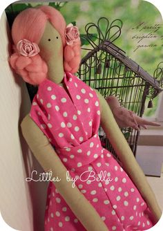 Eater doll Tilda doll pink doll pink gift por littlesbyBella