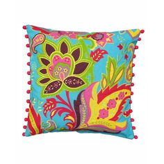 Flora Turquesa Throw Pillow Cover | dotandbo.com