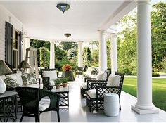 Summer porches with lots of wicker...