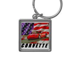 2006 Corvette Silver-Colored Square Keychain