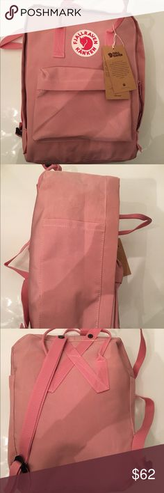 "Fjallraven Kaken Pink Backpack Length: 13"". Width: 4.5"". Height: 11"". Handle drop: 4"" Fjallraven Bags Backpacks"