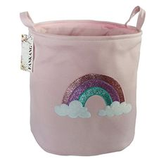 FANKANG Large Sized Gift Baskets Cute Rainbow Pattern Design Laundry Hamper Cotton Fabric Cylindric Storage Bin with Rope Handles, Decorative and Convenient for Kids Bedroom (Pink Rainbow) Fabric Storage Bins, Large Storage Baskets, Gift Baskets, Laundry Hamper, Laundry Bin, Rainbow Room, Kids Bedroom, Baby Gifts, Pattern Design