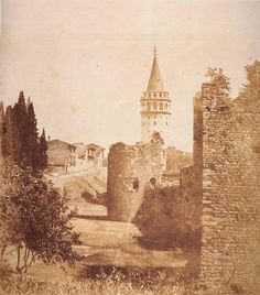"""[Ottoman Empire] An Old Photo of Istanbul, Galata Tower, """"James Robertson"""" (İstanbul Galata Kulesi, Old Pictures, Old Photos, Turkey History, Asia, Cappadocia, Ottoman Empire, Historical Pictures, Istanbul Turkey, Byzantine"""