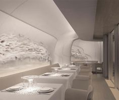 Check out the white on white on white dining room at Sur Mesure at the Mandarin Oriental Paris.