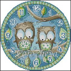 Owls Cross-stitch Clock Face.