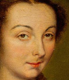 Corneille de Lyon, detail from Portrait of Louise de Halluin, dame de Cipierre…