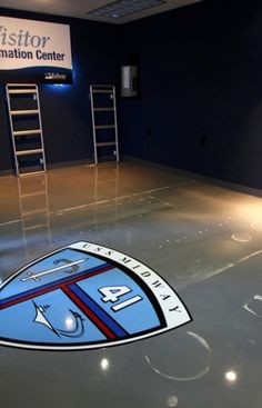 Liquid Dazzle epoxy floor at the USS Midway.
