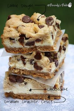 Chocolate Cookie Dough Cheesecake Bars - O. Chocolate Cookie Dough Cheesecake Bars - O. Chocolate Cookie Dough Cheesecake Bars - O. Delicious Cookie Recipes, Yummy Cookies, Sweet Recipes, Dessert Recipes, Yummy Food, Bar Cookies, Bar Recipes, Healthy Recipes, Cookbook Recipes