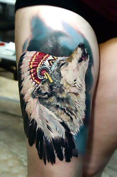 Wings Tattoo Ideas And Their Meanings Feminine Thigh Tattoos, Thigh Tattoo Simple, Girl Thigh Tattoos, Pin Up Tattoos, Wolf Tattoos, Skull Tattoos, Sexy Tattoos, Awesome Tattoos, Tattoo Designs For Women