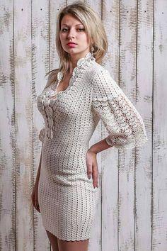 White crochet prom dress Lace crochet dress Elegant dress Coctail dress Winter wedding dress Merinos silk dress Warm dress Prom winter dress - Wedding World Crochet Prom Dresses, Crochet Lace Dress, Knit Dress, Knit Crochet, Dress Lace, Dress Prom, Warm Dresses, Winter Dresses, Elegant Dresses