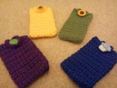 Crochet Phone Cover crocheted mobile phone covers with novelty buttons Crochet Phone Cover, Crochet Mobile, Cell Phone Pouch, Love Crochet, Phone Covers, Buttons, Pattern, Mobile Covers, Patterns