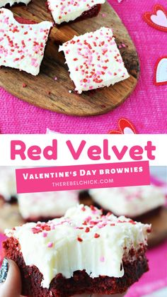 Brownie Recipes, Cookie Recipes, Dessert Recipes, Valentines Day Desserts, Valentine Treats, Red Velvet Recipes, Cupcake Cakes, Cupcakes, Blondie Brownies