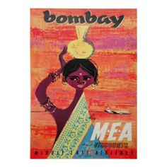 Shop Bombay Vintage Travel Poster created by vintagestore. Vintage Travel Posters, Vintage Ads, Vintage Images, Vintage Airline, Vintage India, Middle East Airlines, Victorian Art, Custom Posters, Custom Framing