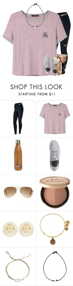 """people grow apart, don't waste energy chasing somebody who doesn't need you."" by ellaswiftie13 on Polyvore featuring NIKE, MANGO, S'well, Ray-Ban, Too Faced Cosmetics, Tory Burch, Alex and Ani and Dogeared"