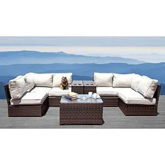 Living Source International Lucca 9 Piece Sectional Set- All Weather Resort Grade Outdoor Furniture Patio Sofa Set With Back Cushions (Espresso), Grey, Size Sets, Patio Furniture (Aluminum) Furniture Sofa Set, Luxury Furniture, Living Room Furniture, Outdoor Furniture Sets, Furniture Design, Outdoor Decor, Furniture Deals, Furniture Price, Porch Furniture