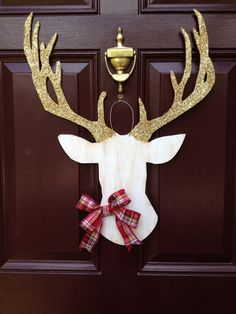 Deer Head Wall Mount, Silhouette, Southern Wedding, Christmas Wreath, Deer Head Christmas, Deer Head Decor, Deer Head Door Hanger, Woodland