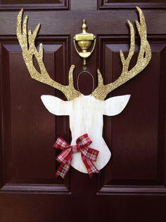 Deer Head Wall Mount, Silhouette, Southern Wedding, Christmas Wreath, Deer Head Christmas, Deer Head Decor, Deer Head Door Hanger, Woodland