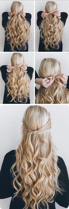 Beste – 1 Minute Knotted Half Up – Schnelle und einfache Frisuren … Best 5 Minute Hairstyles – 1 Minute Knotted Half Up – Quick And Easy Hairstyles and Haircuts For Long Hair, That Are Super Simple and Great For Busy Mornings Or For Sch Down Hairstyles For Long Hair, 5 Minute Hairstyles, Trendy Hairstyles, Wedding Hairstyles, Long Haircuts, Amazing Hairstyles, Bridesmaid Hairstyles, Ponytail Hairstyles, Office Hairstyles