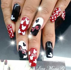 Minnie Mouse Nail Art - Best deas My Disney Toe Nails, Nail Art Disney, Disneyland Nails, Disney Acrylic Nails, Best Acrylic Nails, Disney Diy, Disney Toes, Arte Disney, Ongles Mickey Mouse
