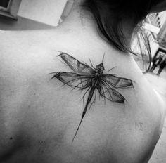 Sketch style dragonfly tattoo by Inez Janiak