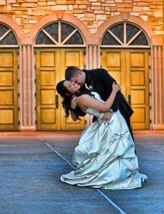 groom dips bride. Wedding at St Elizabeth Ann Seton, by Ivey Photography.