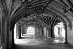 The Undercroft: Lincoln's Inn    This beautiful undercroft is beneath the Lincoln's Inn Chapel, The floor is made up of grave slabs.    Grade I listed. Undercroft with Gothic four-centred arches, lierne-vaults and Tuscan demi-columns  attached to the piers.