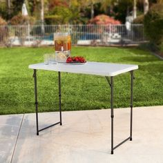 Lifetime 4 ft. Rectangle Light Commercial Fold-In-Half Adjustable Folding Table - White - 4428