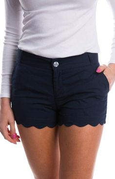 Just in time for spring, we gave our Poplin shorts a make over! These classic, flat-front shorts now feature a scalloped hem that will add a touch of prep to an