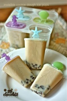 """Cookie dough ice pops (milk, brown sugar, vanilla, chocolate chips)"" -- I made these yesterday using regular soymilk and THEY ARE AMAZING. Literally, cookie dough popsicles. I'm in love. MAKE THESE, YOU WON'T REGRET IT."