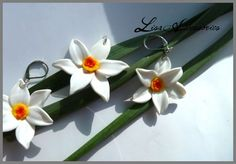Set Narcise Drop Earrings, Floral, Flowers, Handmade, Shopping, Jewelry, Amor, Hand Made, Jewellery Making