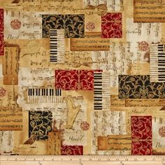 All That Jazz Metatllic Music Collage Holiday Fabric