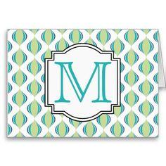 Modern Ogee Style Pattern Monogram - Teal Lime Greeting Card