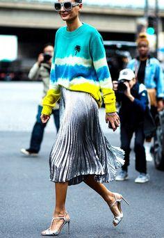 Metallic pleated skirt + tie dye sweatshirt