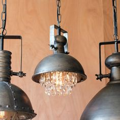 Metal Pendant Light with Hanging Crystals