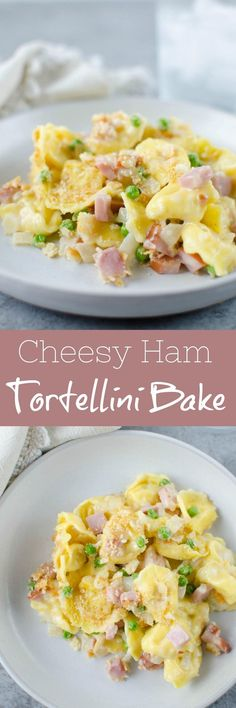 Cheesy Ham and Tortellini Bake - cheese-filled pasta with ham and peas in a creamy, cheesy sauce with a Ritz cracker topping! An easy 30 minute meal the whole family will love!Cheesy Ham and Tortellini BakeJenna Pitts Cook Book Cheesy Ham Ham Peas And Pasta, Ham Pasta, Tortellini Bake, Pasta Dishes, Food Dishes, Pasta Cheese, Pasta Sauces, Yummy Pasta Recipes, Cheesy Recipes