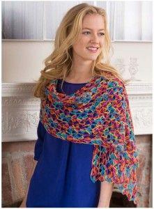 happy crochet shawl Sock yarn on 6mm
