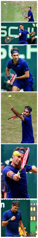 Roger Federer defeats Malek Jaziri in the round of the Gerry Weber Open. Tennis Photography, Wimbledon Tennis, Fun Hobbies, Roger Federer, Halle, Sports, King, Gamer Girls, Hs Sports