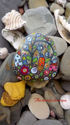 Painted rock art decoration Christmas gift Australian rustic bookend village houses stone paperweight garden waterproof paperweight painting by TheStunnerBoutique on Etsy