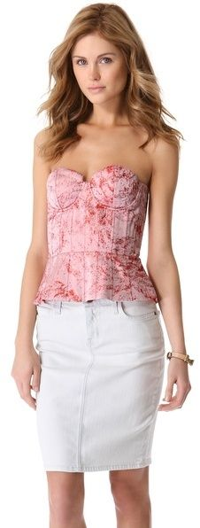 Alice + Olivia Structured Strapless Bustier Top - women's fashion (pink and red clothing apparel)