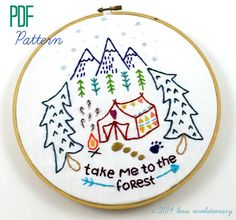 Camping Forest Woods Travel Hand Embroidery PDF by lovahandmade