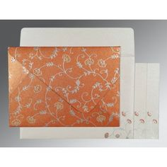 Give your wedding a special feel with our exclusive Orange, Shimmer Paper, Christian Wedding Cards - C-8248E