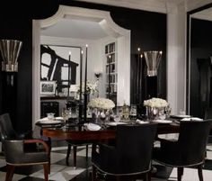 eliware: Ralph Lauren Home glossy black walls, glossy white molding, black dining chairs, oval . Black And White Dining Room, Black Leather Dining Chairs, Black Rooms, Black And White Interior, White Rooms, Black Walls, Black White, White Trim, Ana White