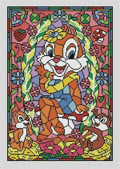 Disney cross stitch pattern Chip and Dale in pdf. Stained glass cross stitch pattern in pdf. BUY 2 GET 1 FREE Disney Cross Stitch Patterns, Cross Stitch Borders, Cross Stitch Baby, Modern Cross Stitch Patterns, Cross Stitching, Beaded Cross Stitch, Cross Stitch Embroidery, Embroidery Patterns, Disney Stained Glass