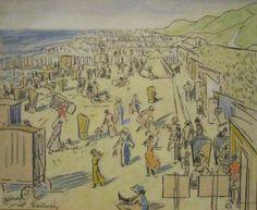 Aan het strand te Domburg, Jan Toorop, 1913 Dutch Painters, Dom, Vintage World Maps, Posters, Paintings, Beach, Kunst, Paint, The Beach