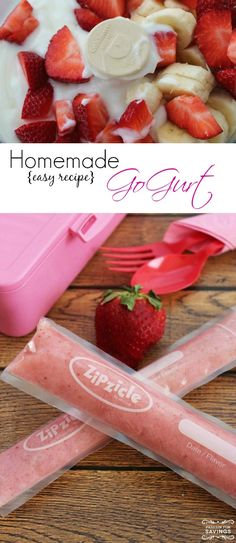 Homemade GoGurt Recipe! This is a fun lunch box snack or after school snack for kids! Know exactly what's in your kids' yogurt!
