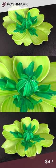 """Large Retro Enamel Flower Brooch in Green This unique 3-dimensional retro vintage flower brooch pin is brightly enameled lime green and hand-painted in a darker shade of green on the inner petals. A detailed center provides additional visual interest and is also done in this slightly darker shade. Measures 3"""" x 2-1/2"""". In excellent preowned vintage condition. Smoke-free home. Vintage Jewelry Brooches"""