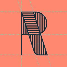 R Letters Coral Navy Pattern Stripes Typography